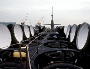 Nuclear-powered ballistic missile submarine OHIO (SSBN-726) with missile tubes open during pre-commissioning activities. It carriex Trident C-4 (UGM-96) ballistic missiles