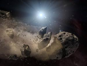 White dwarfs can chew apart errant asteroids, leaving only dusty remains. New infrared observations suggest the dust left behind in six such stars has a composition similar to rocky objects in the inner solar system, suggesting the stars may have hosted rocky planets. (Illustration: NASA/JPL-Caltech)
