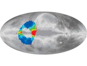 A balloon-borne instrument called ARCADE mapped a doughnut-shaped region that covered some 7% of the sky (coloured region), turning up an unexplained radio signal (Illustration: NASA/ARCADE)