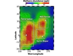 Three regions near the Martian equator seem to have pumped out methane plumes detected in 2003 (Illustration: AAAS/Science)