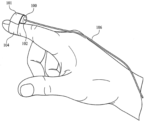 A small camera mounted on a fingertip could provide blind and partially sighted people a new way to interact with the world, a new patent application says