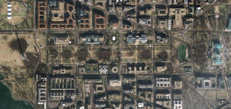 This image, which is the sharpest colour satellite image taken of Barack Obama's inauguration on Tuesday, shows ant-like crowds gathered on the National Mall in Washington, DC, at 1119 EST. The image was taken from an altitude of 680 km by the four-month-old GeoEye-1, the highest-resolution commercial Earth-imaging satellite in the world. GeoEye-1 can resolve objects as small as 0.41 metres across, but US licensing restrictions mean that its images are purposely blurred slightly, to a resolution of 0.5 m, before they are made public.
