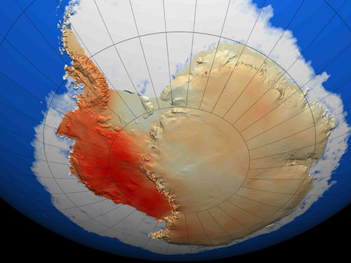 This map shows the warming that has occurred in West Antarctica during the last 50 years, with dark red showing the area that has warmed the most
