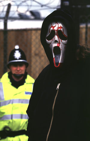 Animal rights protester during a demonstration against Huntingdon Life Sciences in 2001