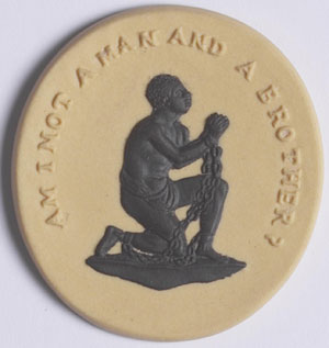 An example of the slave medallions produced by Josiah Wedgwood to promote the abolition of slavery