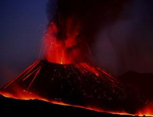 Lava erupts from Mount Etna, Sicily, Italy