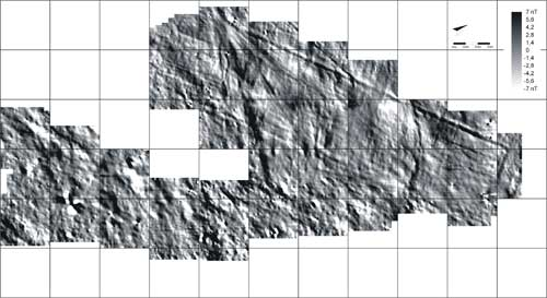 A magnetogram of the geoglyph complex on site PV67A-15/16, known as