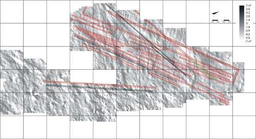 Gorka's team's interpretation of the geoglyph complex on site PV67A-15/16, plotted on the team's magnetogram