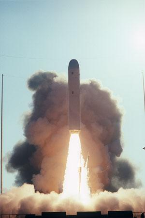 A Trident missile clears a flat pad during the US navy's eighth development test flight