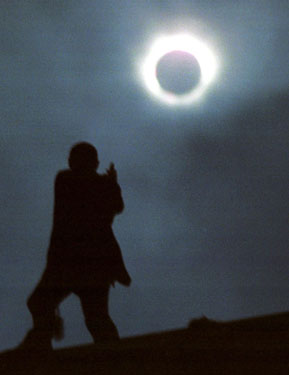 A total solar eclipse, as seen from Towan Beach, Newquay, Cornwall, UK on