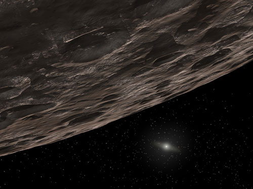 Artist's conception of a Kuiper Belt Object. These icy bits of debris pepper space from Neptune's orbit at 30 astronomical units out to around 50 AU