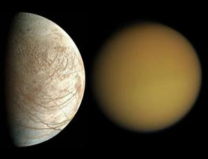NASA and ESA must decide between two proposed missions: one to Jupiter's moon Europa, and one to Saturn's moon Titan (Images: NASA / JPL / University of Arizona and NASA / JPL / Space Science Institute)