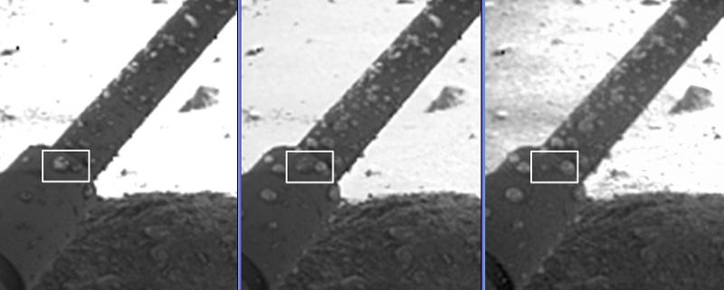 One of the clumps on Phoenix's leg (right in white box) appears to grow after apparently absorbing the liquid from its neighbour. The images were taken on the 8th, 31st and 44th Martian days (or sols) of the Phoenix mission