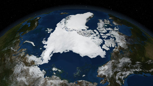 This image shows the minimum sea ice extent that occurred on 14 September, 2007