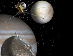 NASA and ESA plan to send two orbiters to study Jupiter in 2020. The probes will eventually settle into orbit around the moons Ganymede (bottom left) and Europa (top right) (Illustration: NASA/JPL)