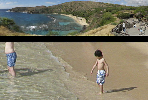A motorised tripod with a robotic finger can capture images with amazing resolution using a consumer digital camera. This image stitched from 1750 photos and capturing a panoramic view in Hawaii (top) contains impressive detail (bottom)