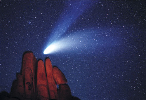 Hale-Bopp, seen here from Joshua Tree National Park, California, was one of the brightest comets of the 20th century. Its gas or