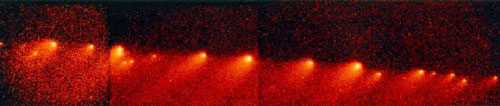 This is the last panoramic mosaic of comet P/Shoemaker-Levy 9 (SL-9) taken by the Hubble Space Telescope. The comet had broken into 21 fragments, all of which impacted Jupiter in mid-July of 1994. The comet fragments stretch across 1.1 million kilometres of space