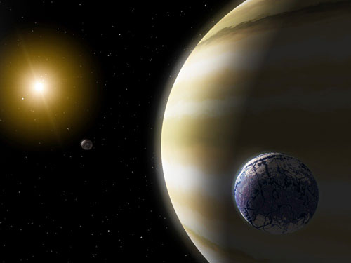 Artist's impression of an extrasolar planet with hypothetical (possible but unproven) water-bearing moons