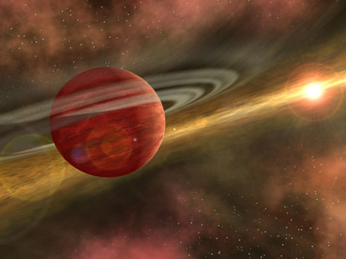 In this artist's conception, a possible planet spins through a clearing in a nearby star's dusty, planet-forming disc. This clearing was detected around the star CoKu Tau 4 by NASA's Spitzer Space Telescope. Astronomers believe that an orbiting massive body, like a planet, may have swept away the star's disc material, leaving a central hole. The possible planet is theorized to be at least as massive as Jupiter