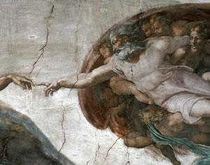 Michelangelo's painting The Creation of the First Man is in the Sistine Chapel in Vatican City. Human beings have a natural inclination for religious belief, especially during hard times