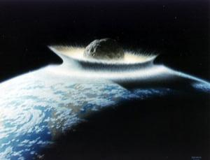 Artist's concept of a catastrophic asteroid impact with the early Earth. An impact with a 500 kilometre diameter asteroid would effectively sterilize the planet. The Earth may have experienced such gigantic impacts in its youth, but fortunately today there are no projectiles this large to threaten our planet