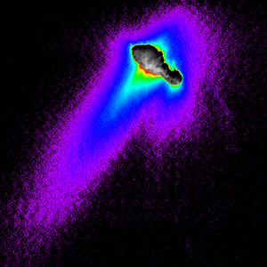 A composite of images from NASA's Deep Space 1 spacecraft shows features of comet Borrelly's nucleus, dust jets escaping the nucleus and the cloud-like