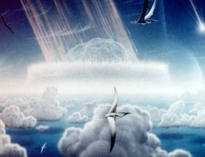 This painting by Donald E Davis shows an asteroid slamming into the tropical, shallow seas of the Yucatan Peninsula, in what is today south-east Mexico. The aftermath of this immense asteroid collision, which occurred approximately 65 million years ago, is believed to have caused the extinction of the dinosaurs and many other species on Earth