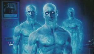 Dr Manhattan: like a Smurf but meaner
