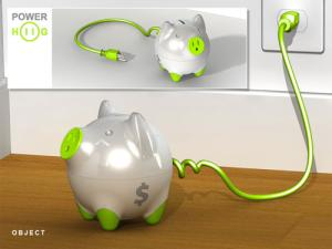 Power Hog only lets power flow to toys when children put money into the piggy bank. To see more designs for green gadgets click the link in the main text, left