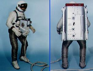 This spacesuit design was used on the Gemini 9 mission, which launched on 3 June 1966. The suit's legs were covered with a cloth woven from stainless steel fibres, used to protect the astronaut and suit from the hot exhaust thrust of the Astronaut Maneuvering Unit (AMU), a propulsion system that included the large backpack. Gemini 9 astronaut Gene Cernan set a spacewalking endurance record of 2 hours and 9 minutes during the mission but was unable to test the AMU because his visor became fogged