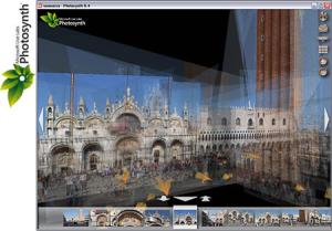 Photosynth takes many snapshots of a place and arranges them into a 3D environment