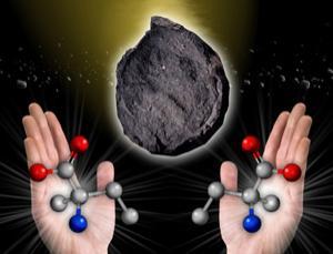 Amino acids, such as isovaline (illustrated), come in left- and right-handed forms, but almost every living organism on Earth uses left-handed forms. New research suggests that water on asteroids amplified a bias - possibly caused by polarised starlight - towards left-handed amino acids (Illustration: NASA/Mary Pat Hrybyk-Keith)