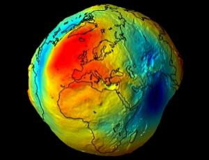 GOCE will help build a high-resolution picture of the geoid, an idealised model of the Earth's surface where gravitational potential is equal everywhere. The geoid, which is bumpy because matter is not distributed uniformly in the Earth, is an important reference for surveying, studies of the Earth's interior, and measurements of ocean changes (Illustration: ESA)