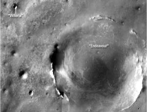 Opportunity is travelling southeast in the hopes of eventually exploring Endeavour crater, a feature that is some 20 times wider than the previous crater it studied, Victoria