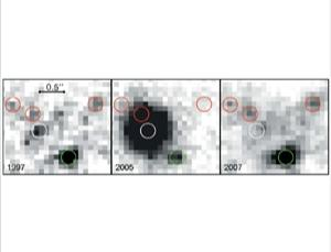 A star visible in 1997 (white circle) seems to have exploded in a supernova observed in 2005 and subsequently disappeared