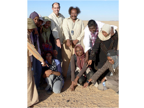 Peter Jenniskens of NASA's Ames Research Center and Muawia Shaddad of the University of Khartoum (standing, centre) and volunteers combed the Nubian Desert in the Sudan to find remnants of asteroid 2008 TC3. This meteorite was found 8 December 2008 during the first of three search campaigns