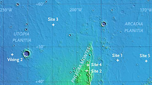 A map of mid-northern plains on Mars shows five sites where craters have excavated ice from a shallow subsurface layer. (Data: Shane Byrne; base map: MOLA team)
