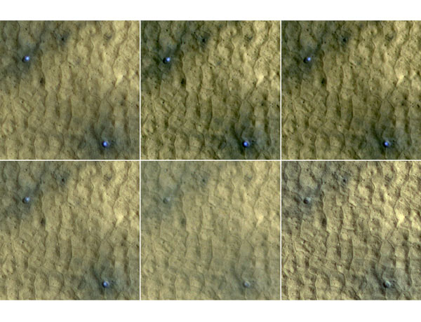 Ice exposed in two craters fades from view over the course of the Martian summer in this series of images taken by the  HiRISE camera on NASA's MRO spacecraft in late 2008 and early 2009. Sublimation of the ice leaves behind a dust layer that gradually thickens, covering the remaining ice. Each panel is 75m across.