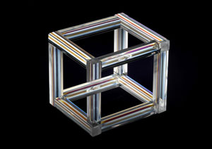 The Necker Cube, an impossible object which illustrates the ambiguity of two-dimensional representations of three-dimensional thought (Image: Raul Gonzalez Perez / SPL