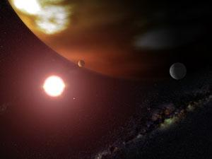 This artist's concept shows a gas giant planet orbiting the cool red dwarf star Gliese 876