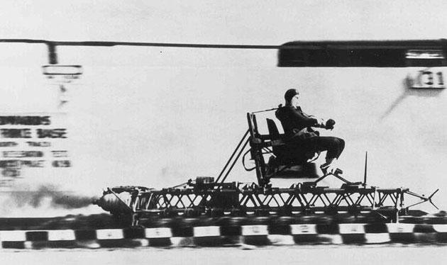 John Stapp rides a rocket sled at Edwards Air Force Base
