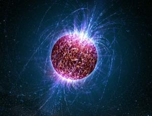 The crust of a neutron star is strong enough to hold up ultra-dense mountains, a new simulation suggests. As the star spins, these bumps could produce ripples in the fabric of space that may be detectable from Earth (Illustration: Casey Reed/Penn State University)
