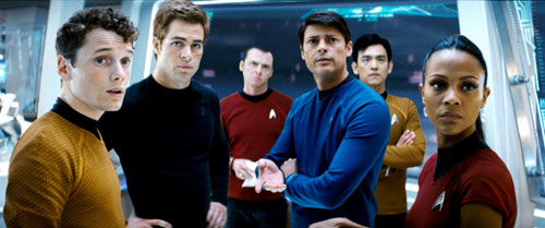 The new cast: from left, Anton Yelchin as Chekov, Chris Pine as Captain Kirk, Simon Pegg as Scotty, Karl Urban as Dr 'Bones' McCoy, John Cho as Sulu, and Zoe Saldana as Lieutenant Uhura
