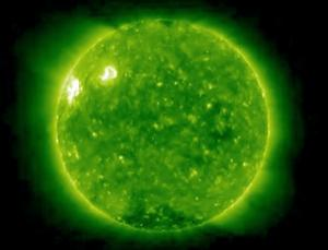 The sun is thought to have reached the lowest point in its activity in December 2008, but the new solar cycle has gotten off to a slow start. This week, however, two active regions (bright regions in upper-left corner) - whose knotty magnetic fields often coincide with eruptions and flares - appeared on the far side of the sun. One of NASA's twin STEREO probes snapped this image on Thursday