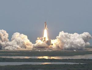 The shuttle Atlantis blasted off on Monday to service the Hubble Space Telescope