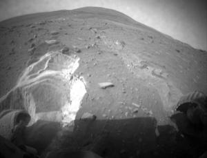 NASA's Spirit rover has been struggling to move in loose sand for several weeks. It took this image on 6 May, after having moved just 36 centimetres since 26 April
