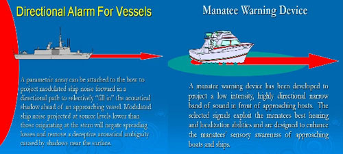 Two different alarms, one for whales and large ships, and the other for smaller boats, designed specifically for manatees
