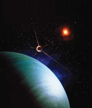 The Voyager 2 probe, seen here above Neptune, used gravity assists to reach the outer solar system
