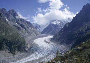 Recent view of La Mer de Glace glacier, Chamonix, Savoie (Savoy), France